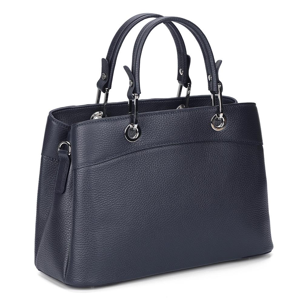 Темно-синяя сумка из кожи с дополнительной ручкой фото