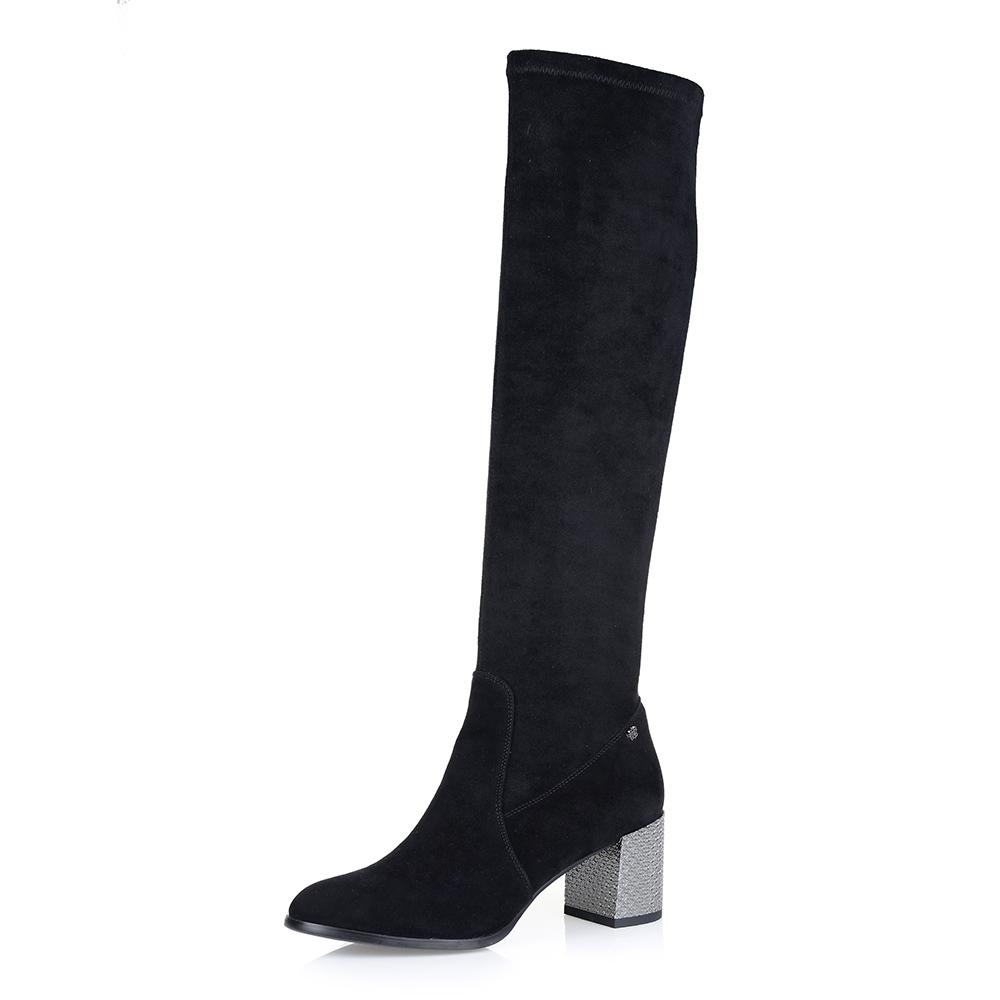Черные сапоги на среднем квадратном каблуке фото