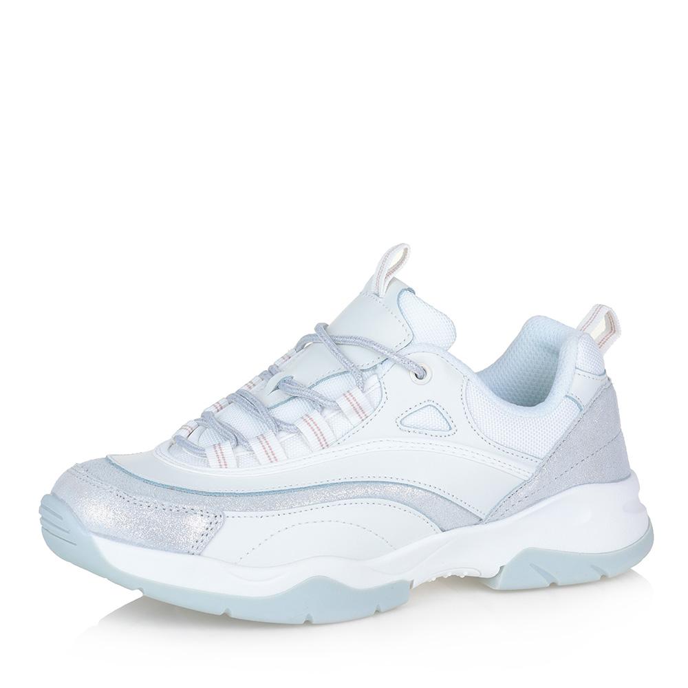 Белые кожаные кроссовки на массивной подошве фото