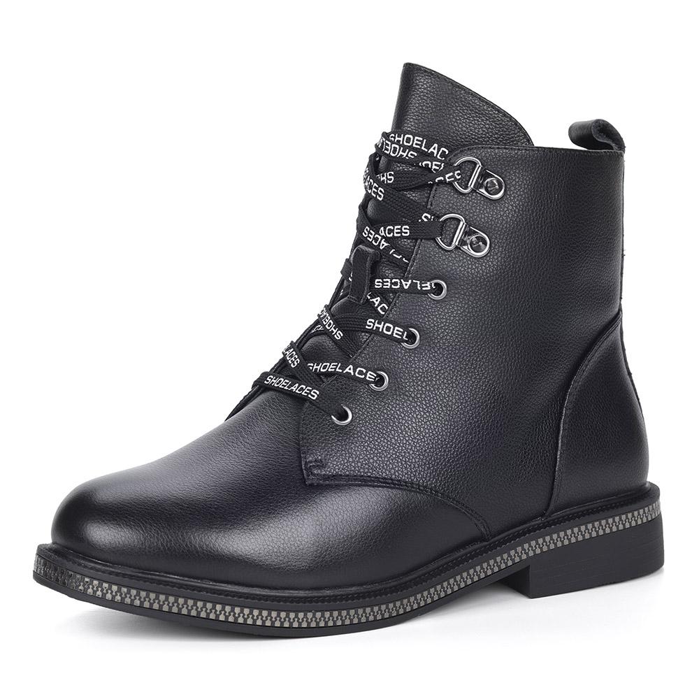 Черные кожаные ботинки с декоративными шнурками