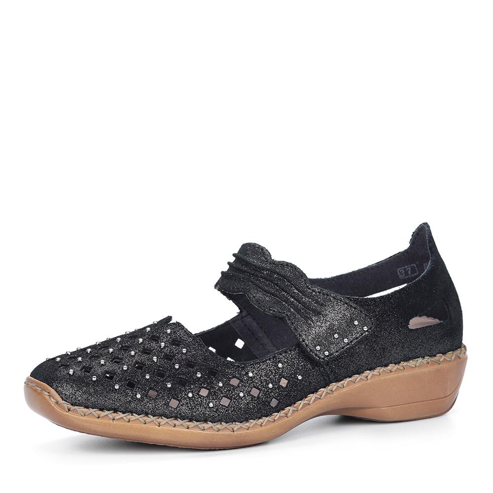Черные кожаные туфли от Rieker