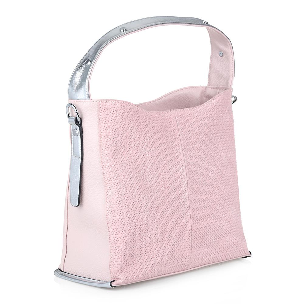 Розовая сумка с металлическим декором фото