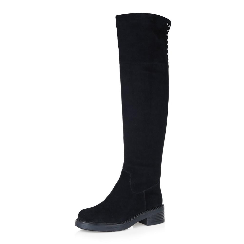 Купить со скидкой Черные ботфорты из велюра на среднем каблуке