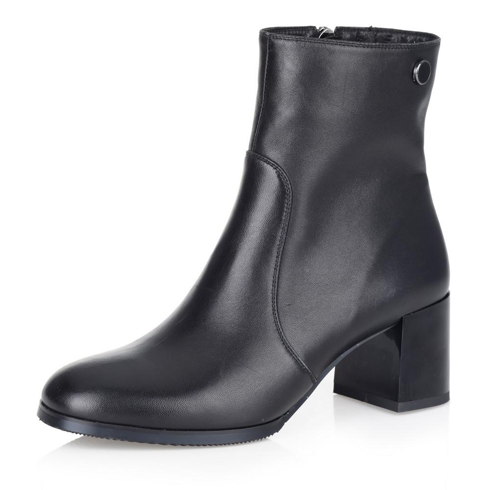 Купить со скидкой Черные ботильоны на среднем каблуке