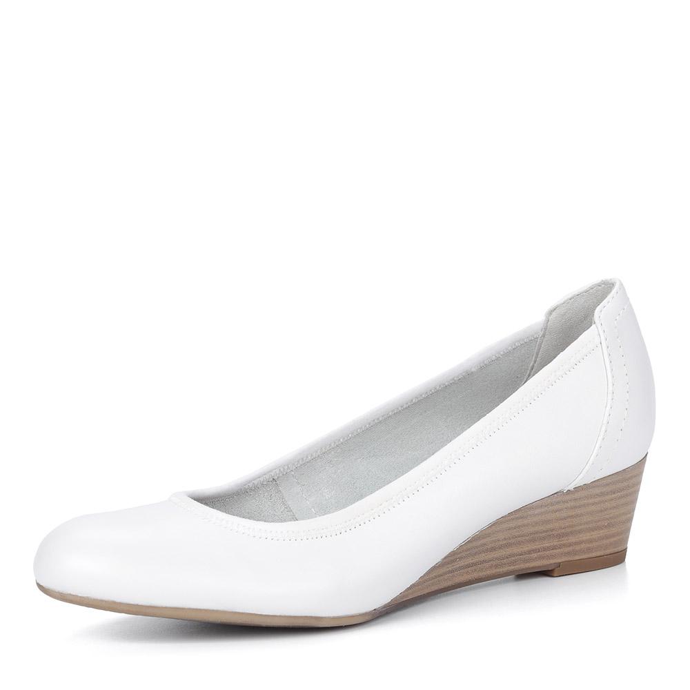 Белые туфли из кожи на танкетке