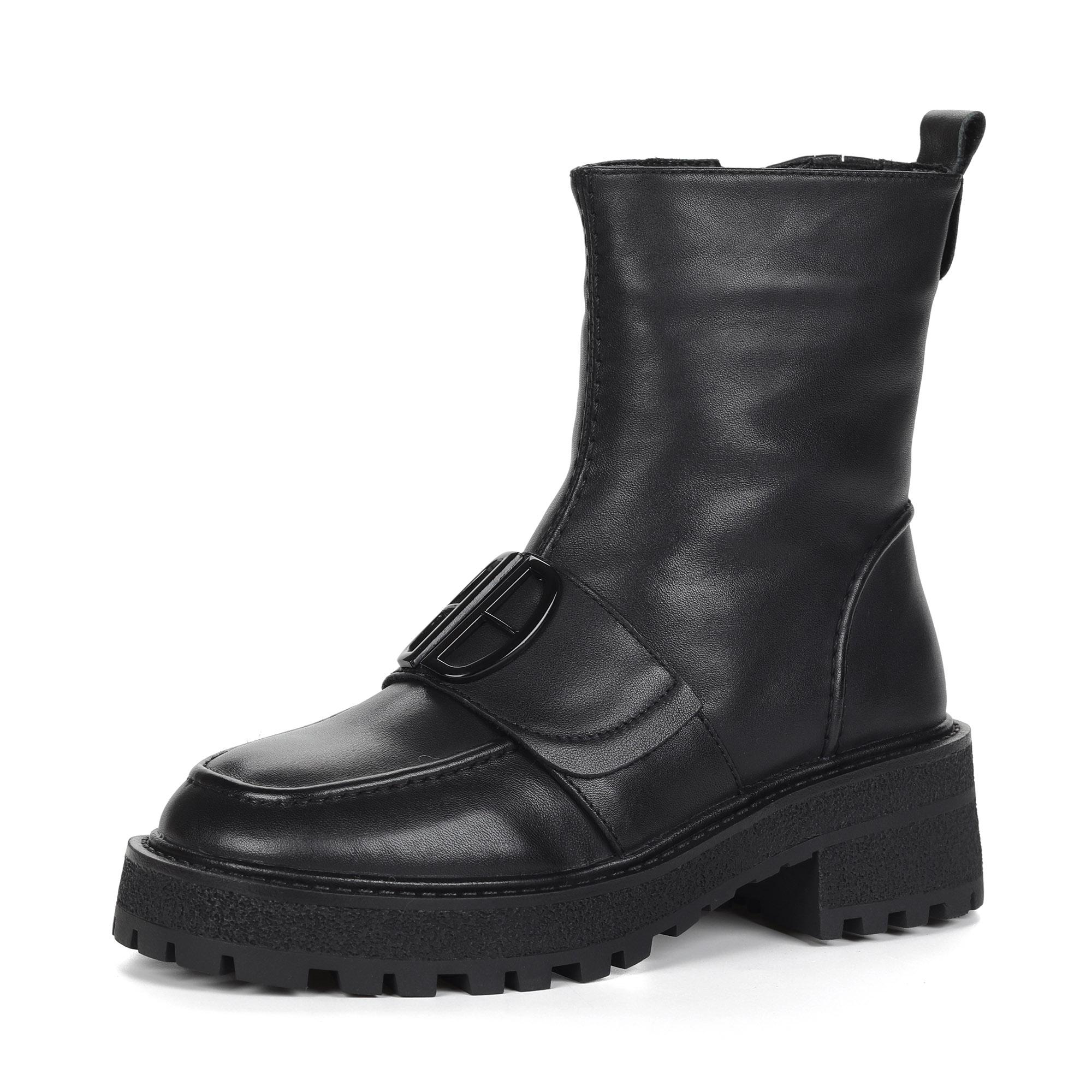 Черные ботинки милитари из кожи на утолщенной подошве на подкладке из натуральной шерсти