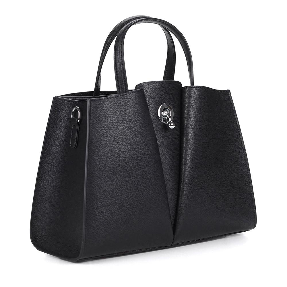Черная сумка из кожи с дополнительной ручкой фото