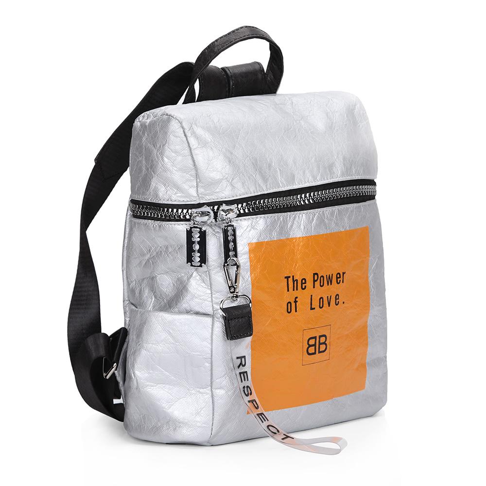Серебряный рюкзак с регулируемыми ручками в спортивном стиле фото