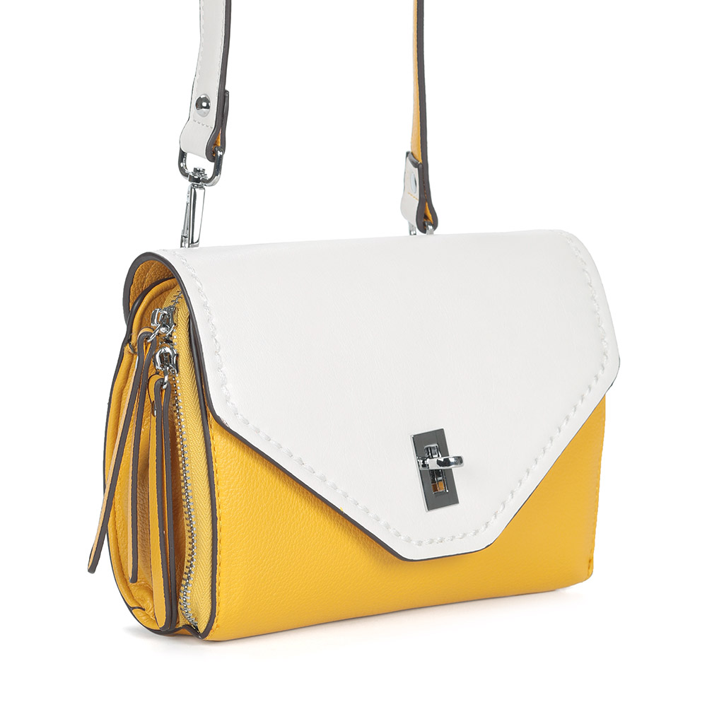 Желто-белая сумка на плечо