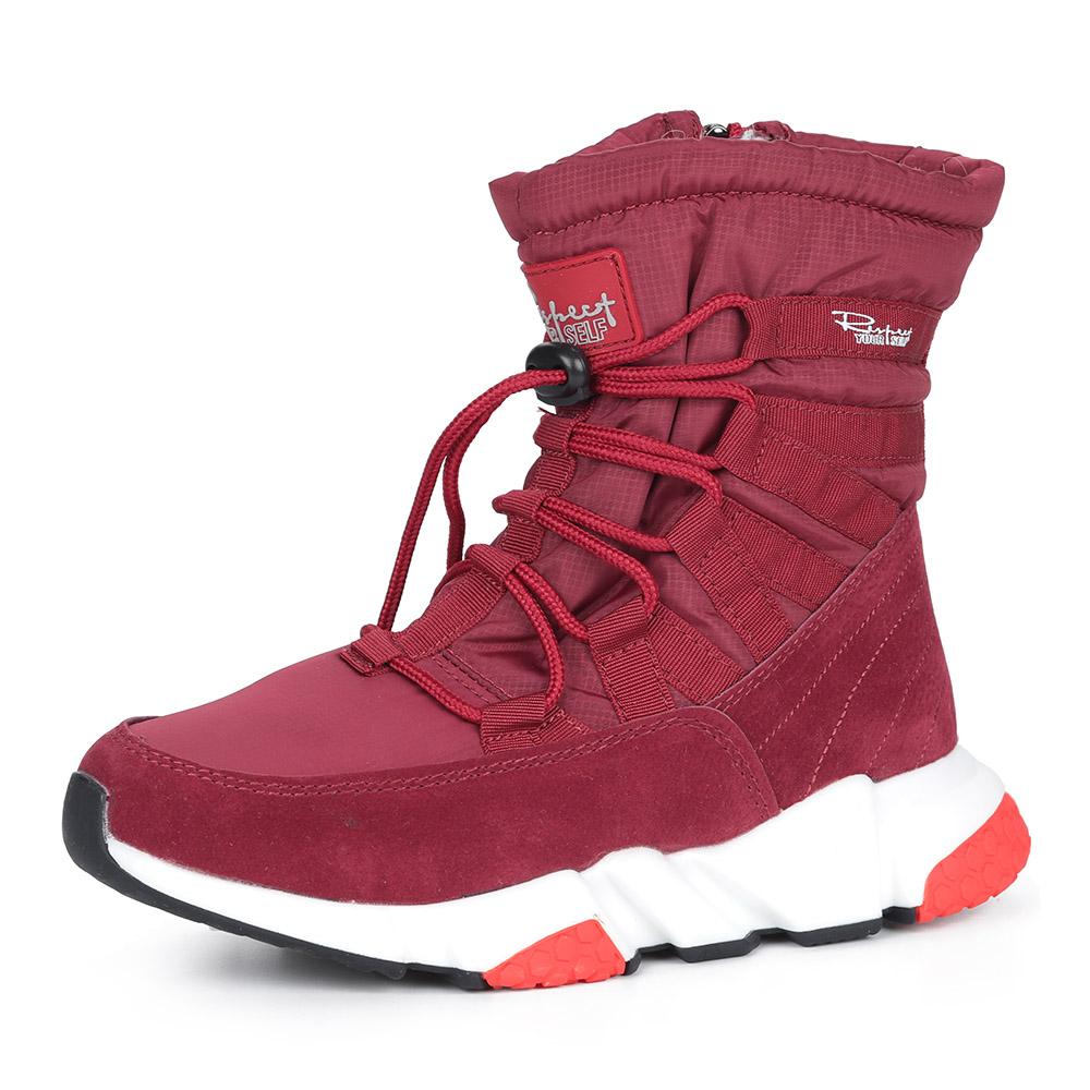 Красные дутики на шнуровке из текстиля