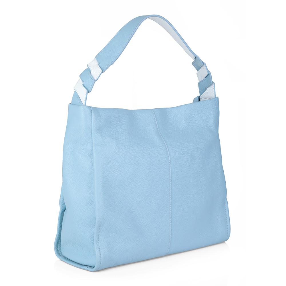 Голубая классическая кожаная сумка фото