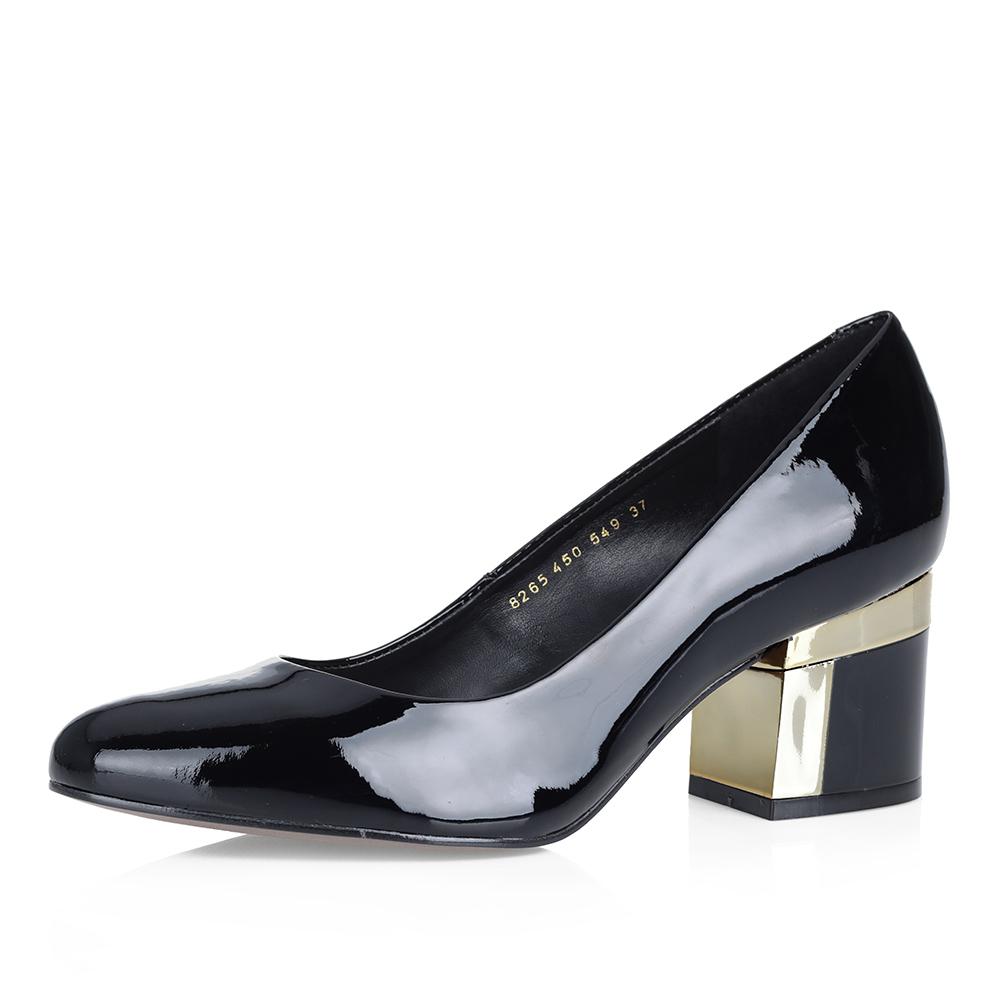 Лаковые туфли-лодочки в черном цвете фото