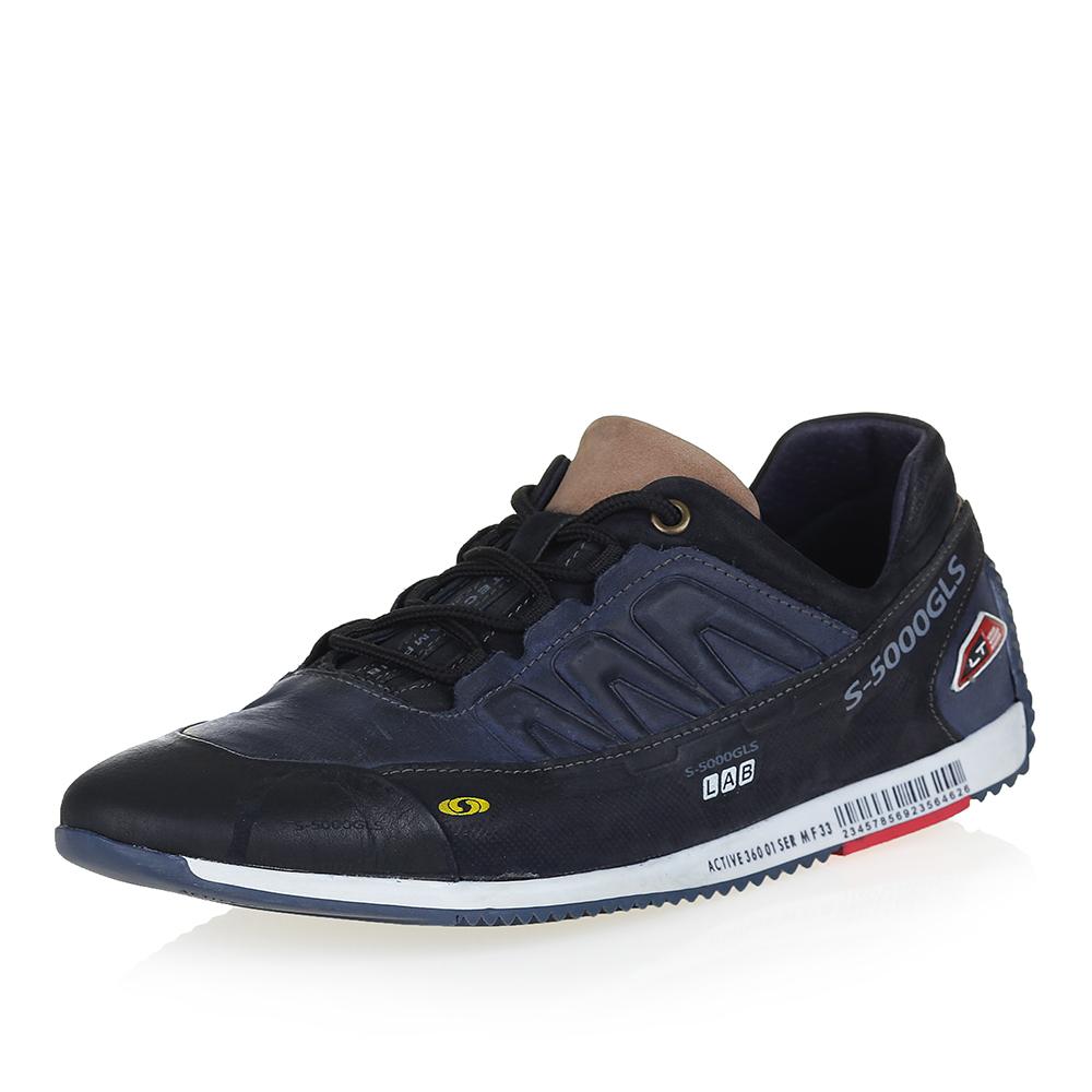 Кожаные чёрно-синие кроссовки с надписями