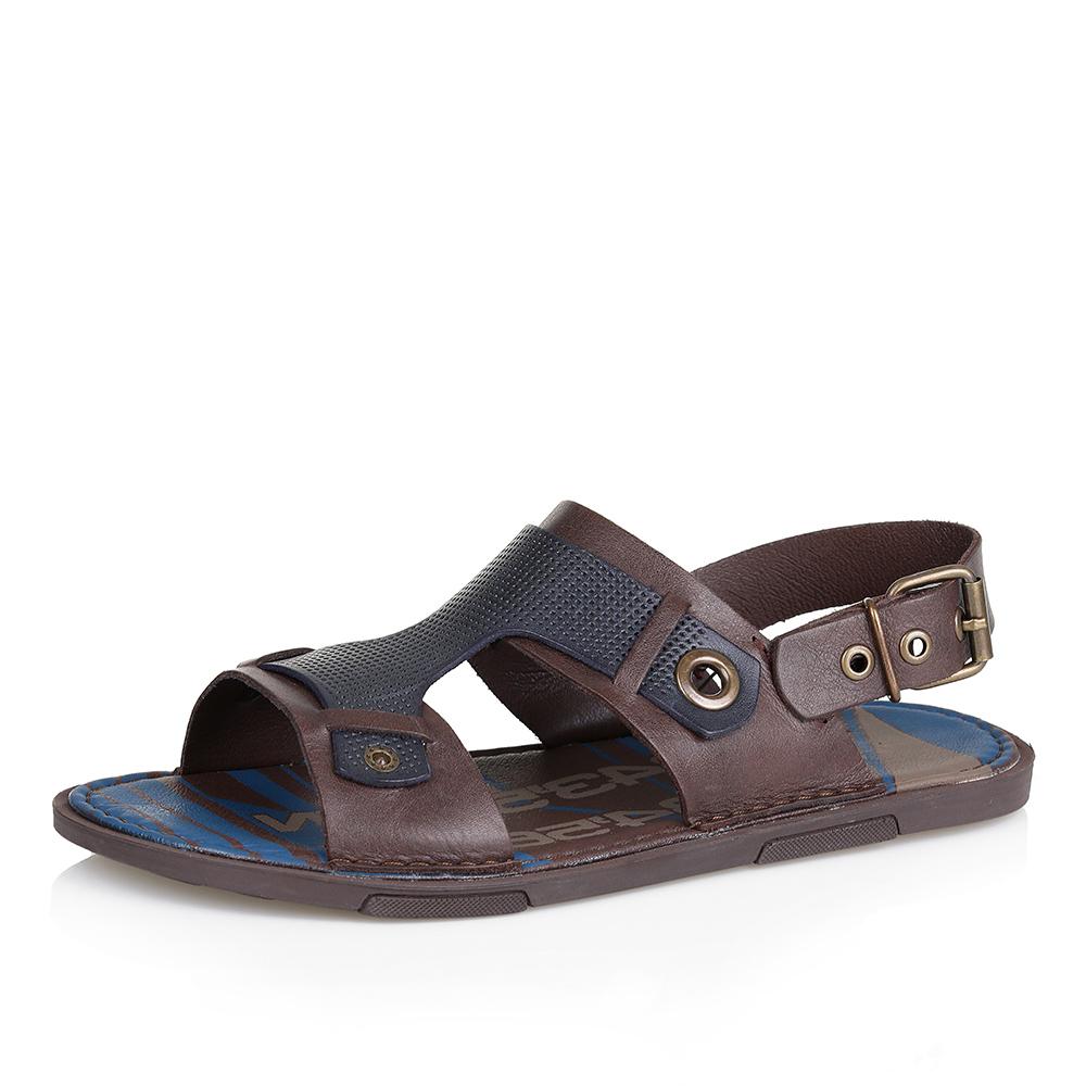Кожаные сандалии с ремешком на подъеме фото