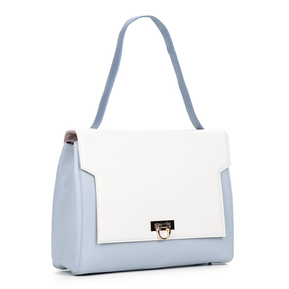 Бело-голубая сумка из кожи прямоугольной формы фото