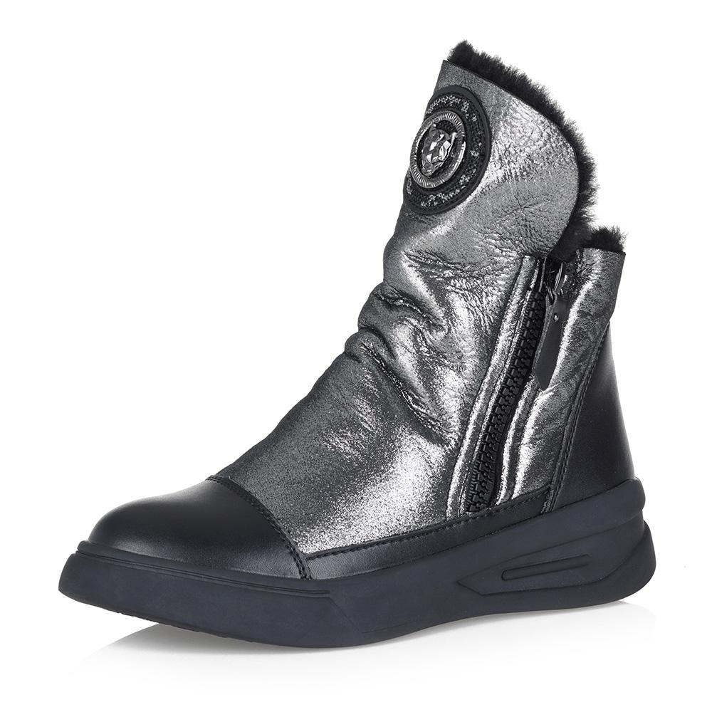 Серебристые комфортные ботинки на меху