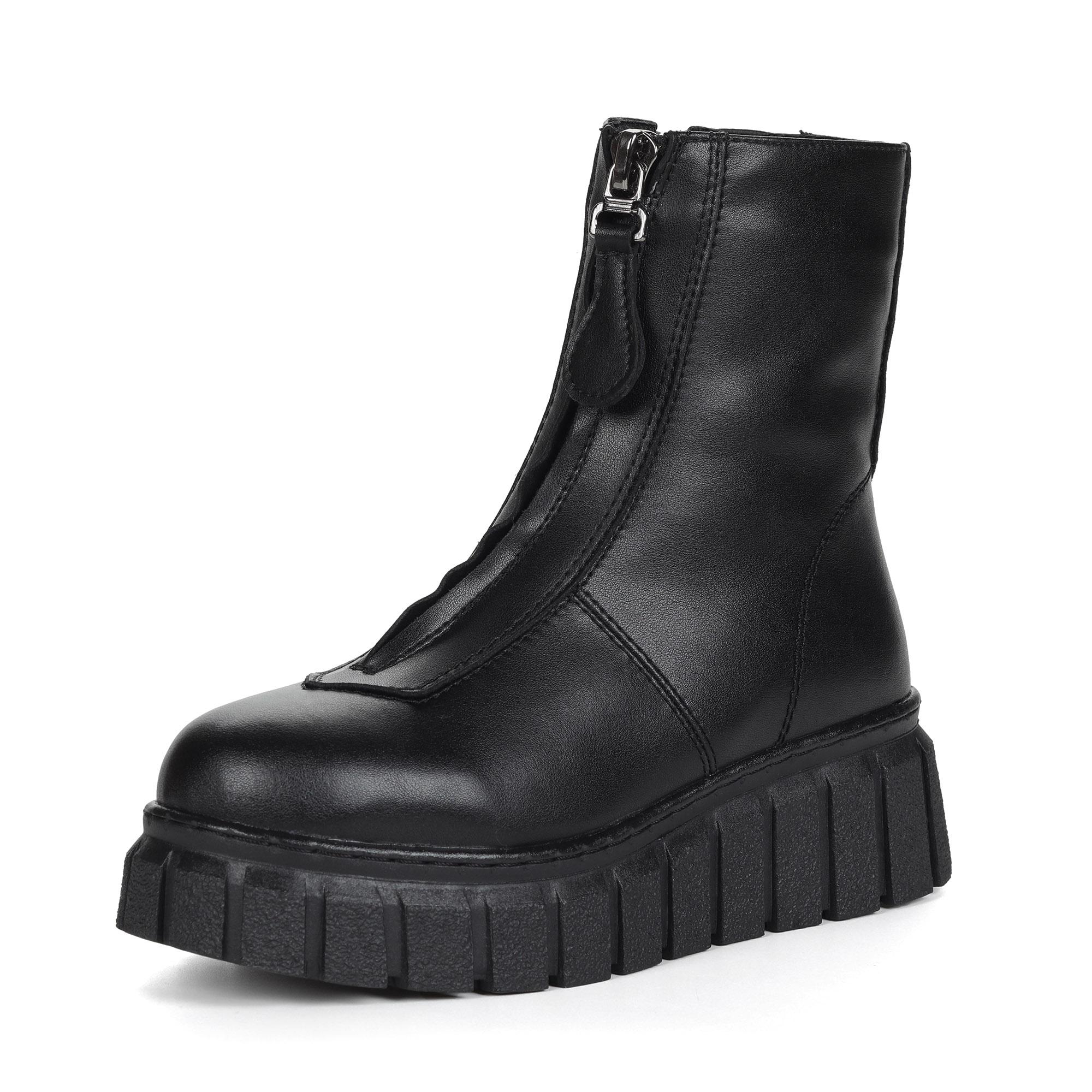 Черные ботинки милитари из натуральной кожи на подкладке из натуральной шерсти на молнии