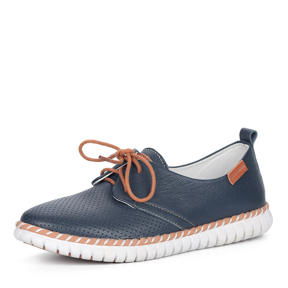 Синие полуботинки на шнуровке из кожи