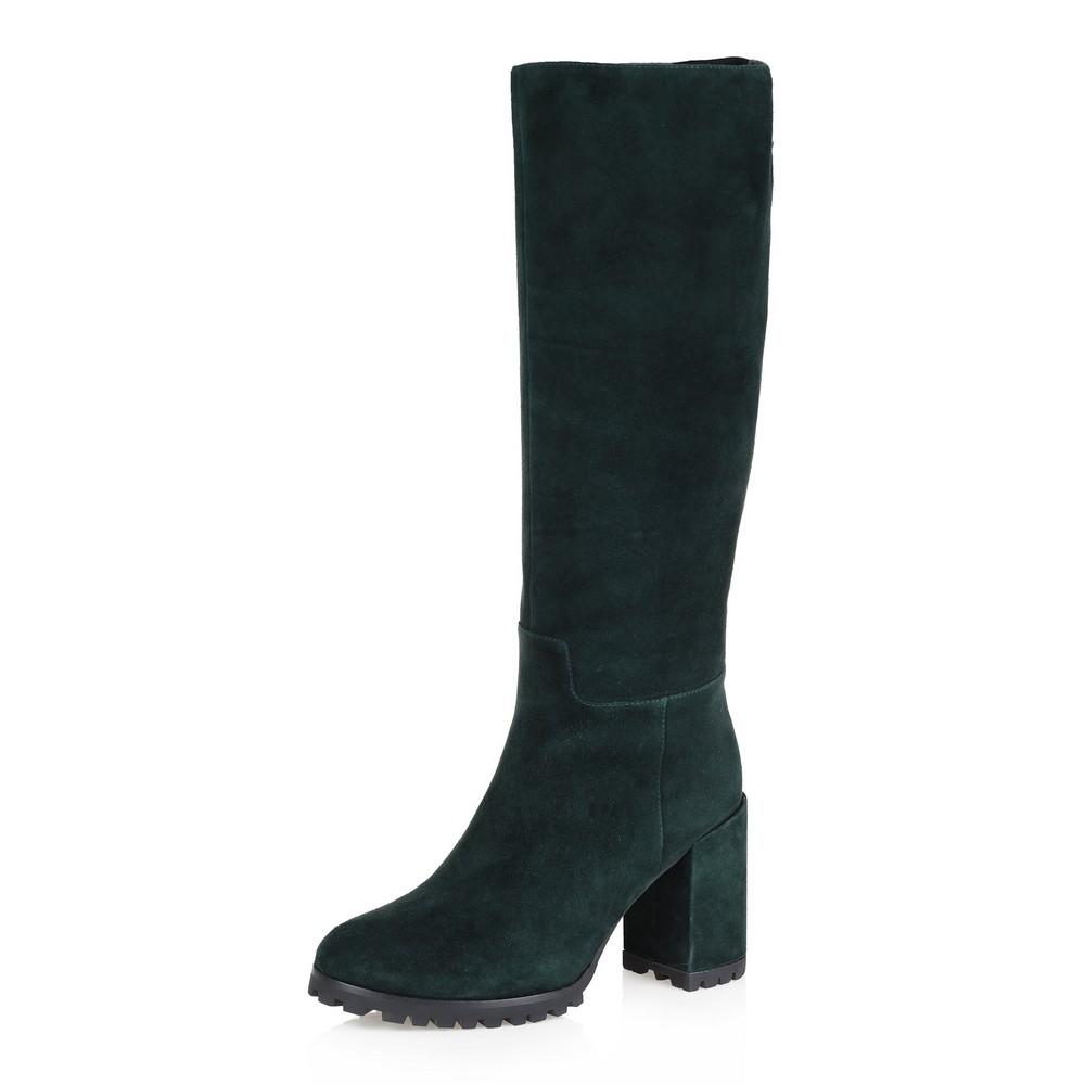 Зеленые сапоги из велюра на высоком каблуке