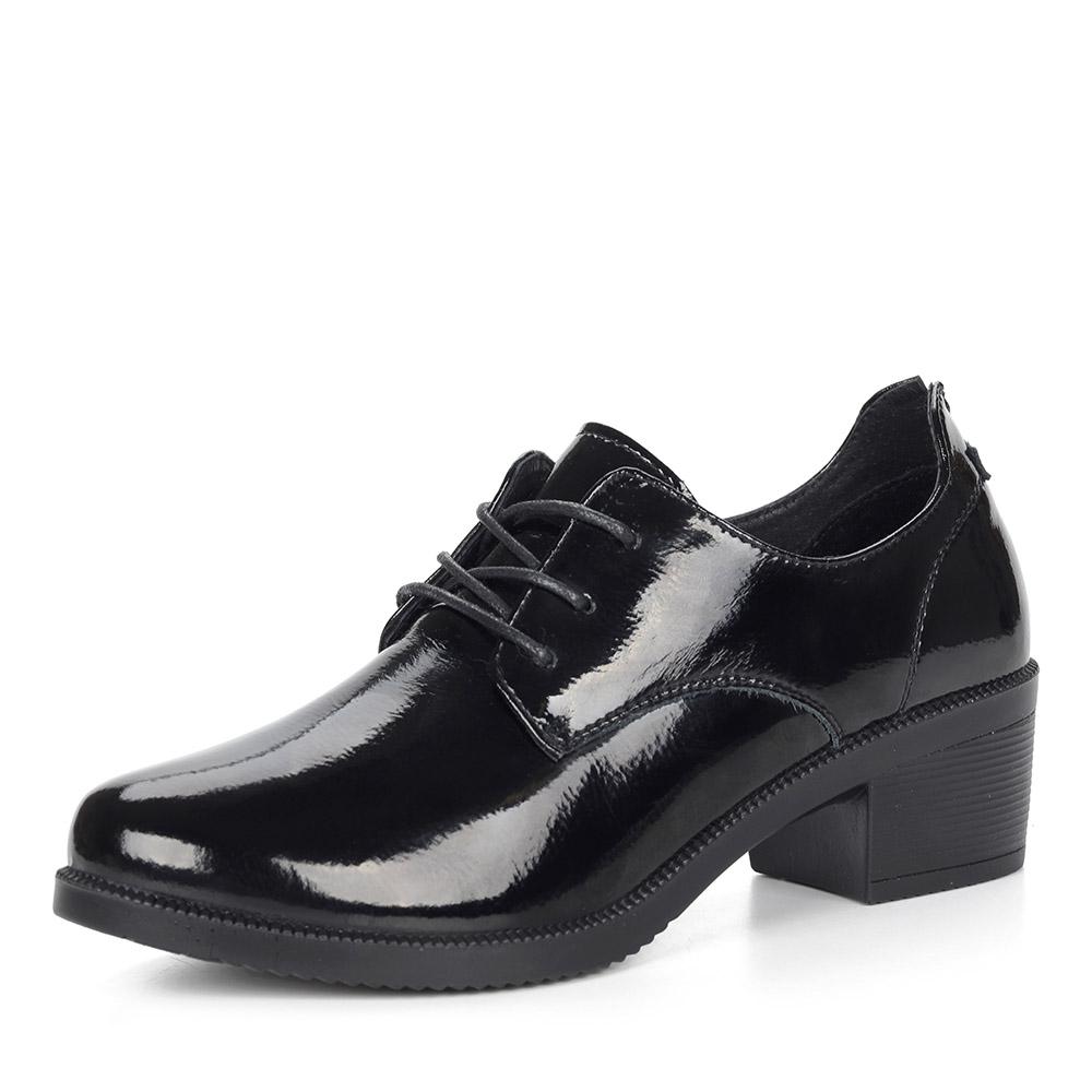 Лакированные черные полуботинки на каблуке