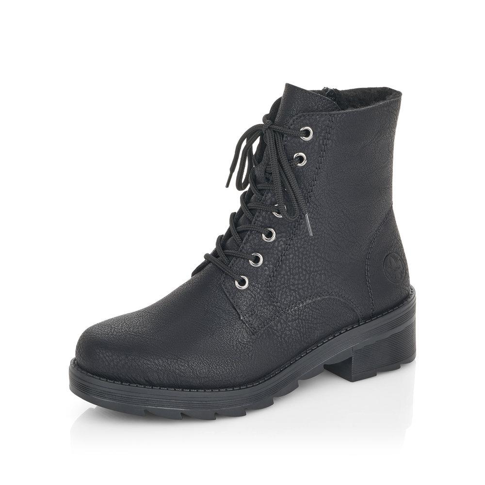 Черные полусапоги из экокожи на шнуровке