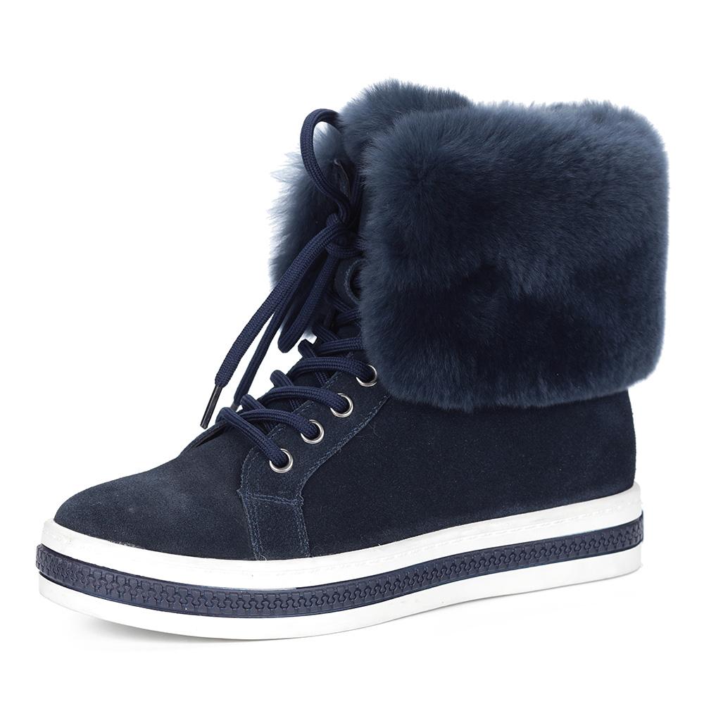 Синие ботинки с опушкой