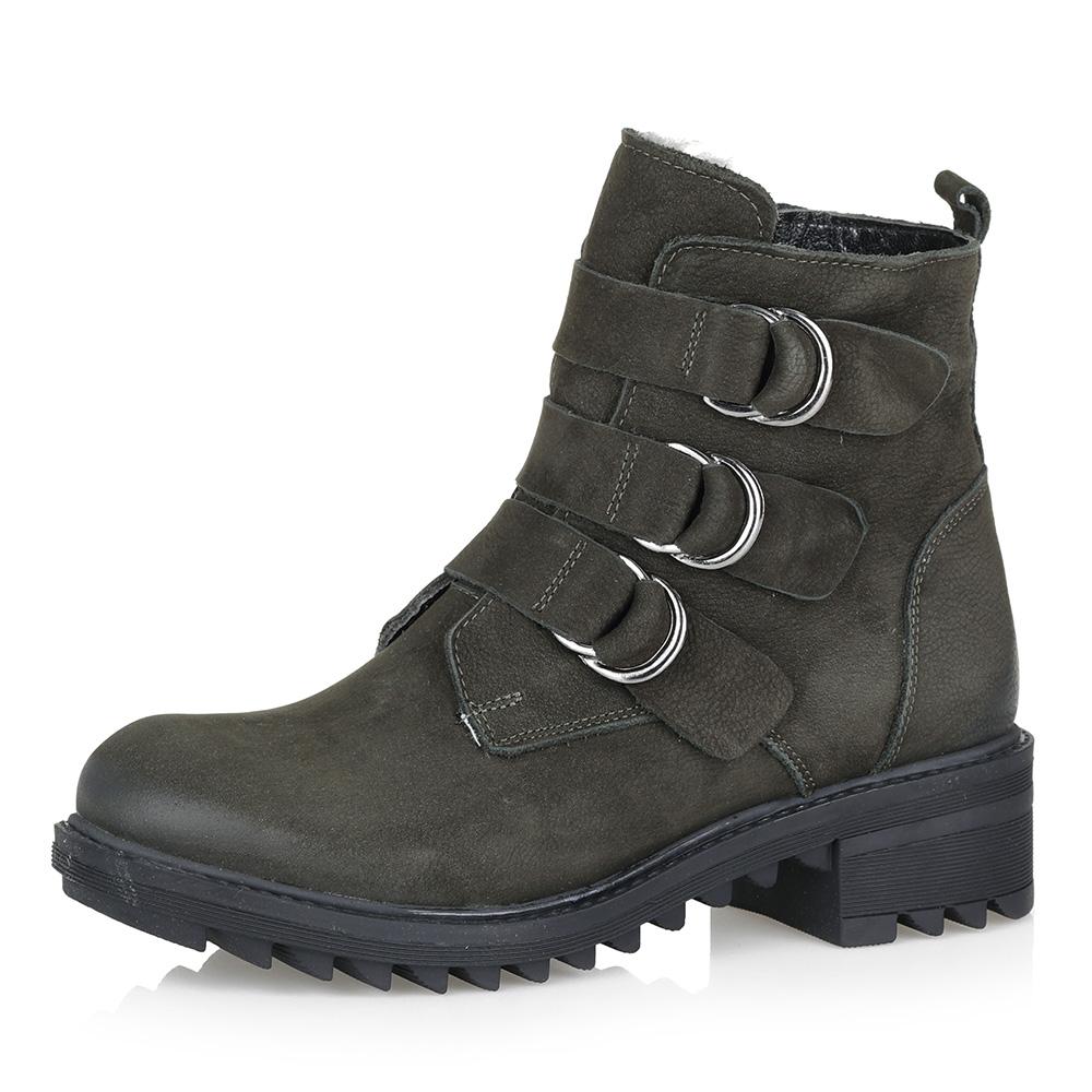 Зеленые утепленные ботинки из нубука