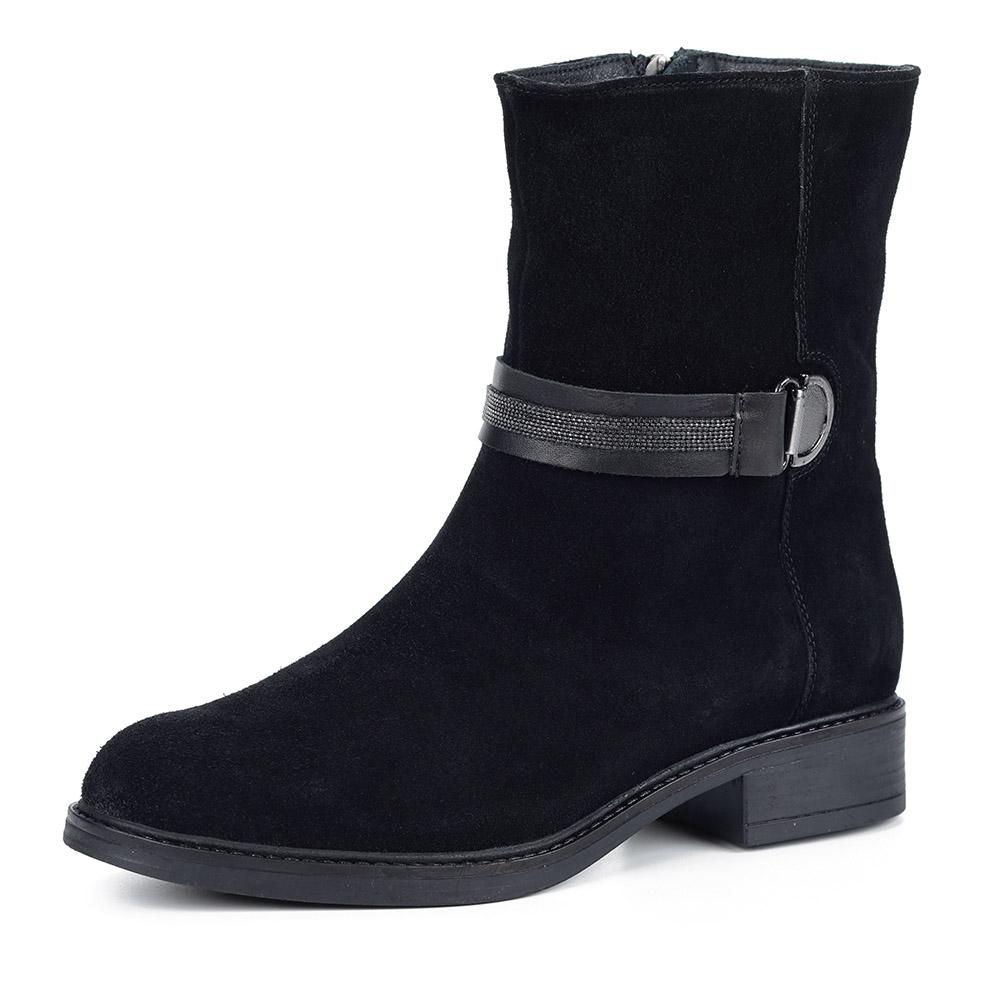 Черные ботинки из спилка с декором, Чер., Черные ботинки из спилка с декором