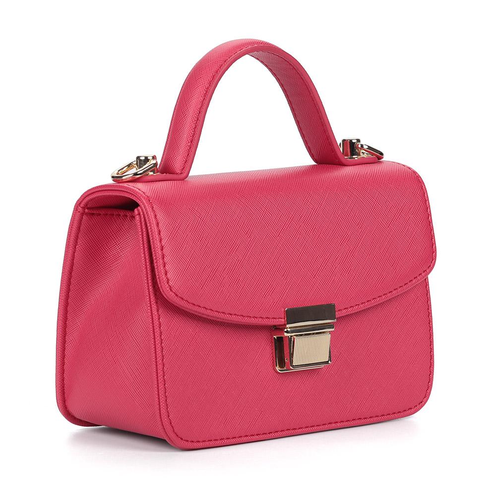 Розовая комбинированная сумка с цепочкой фото