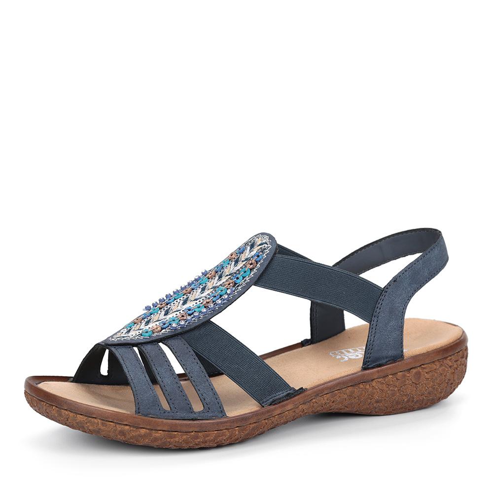 Синие сандалии с декором на подъеме фото