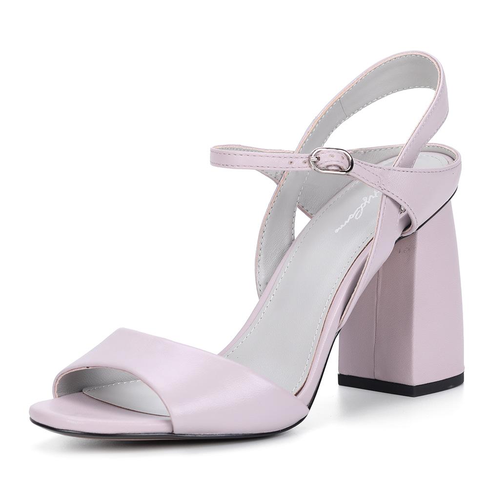 Розовые кожаные босоножки на устойчивом каблуке фото