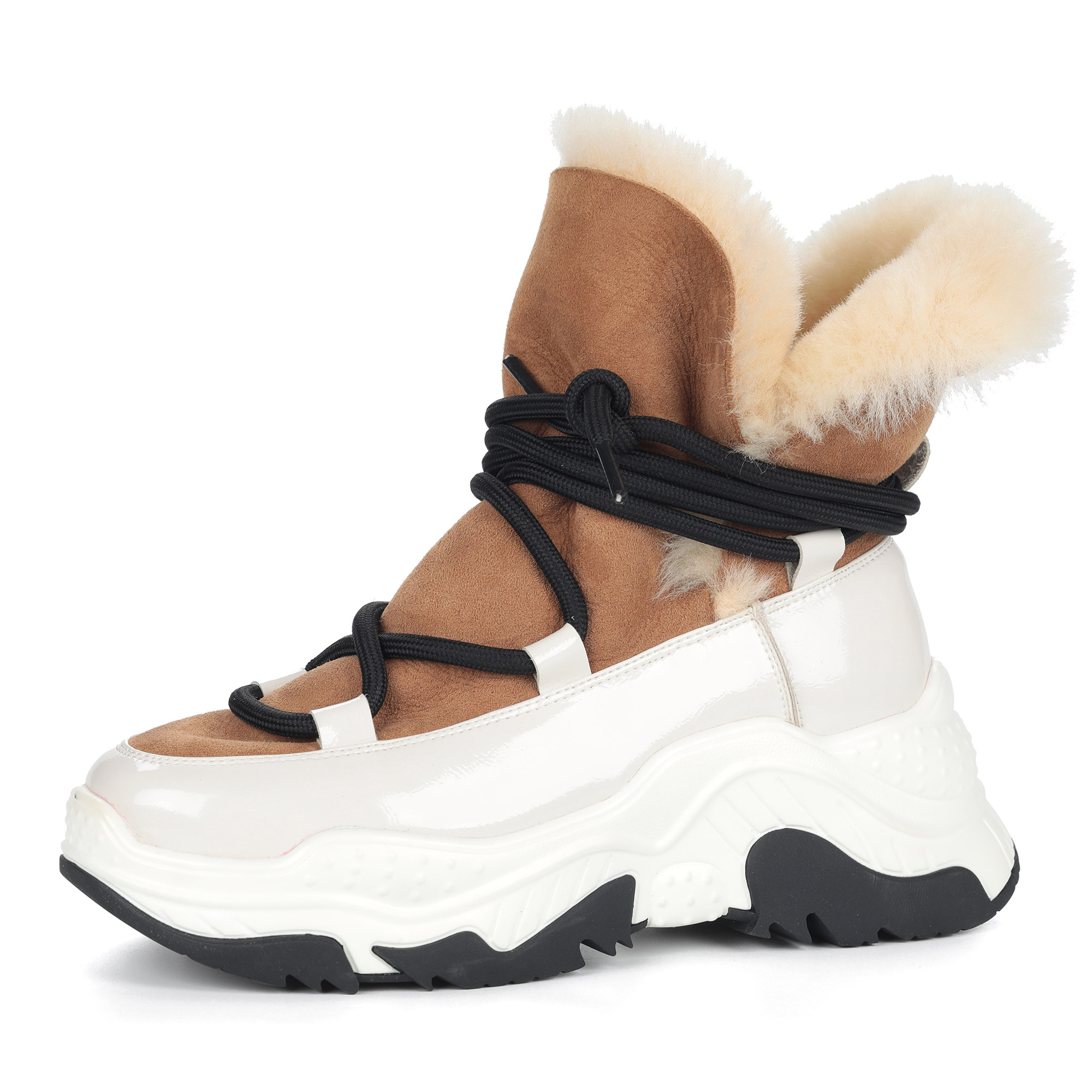 Бело-бежевые спортивные ботинки из комбинированных материалов