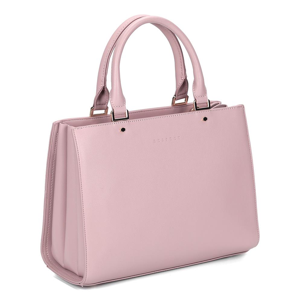 Розовая классическая сумка с дополнительной ручкой фото