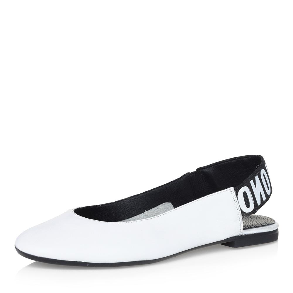 Белые открытые туфли на низком каблуке