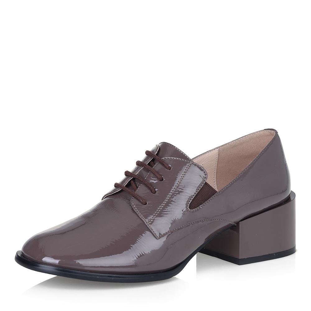 Темно-бежевые туфли на квадратном каблуке фото