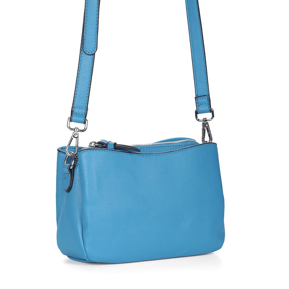 Синяя сумка через плечо из экокожи фото
