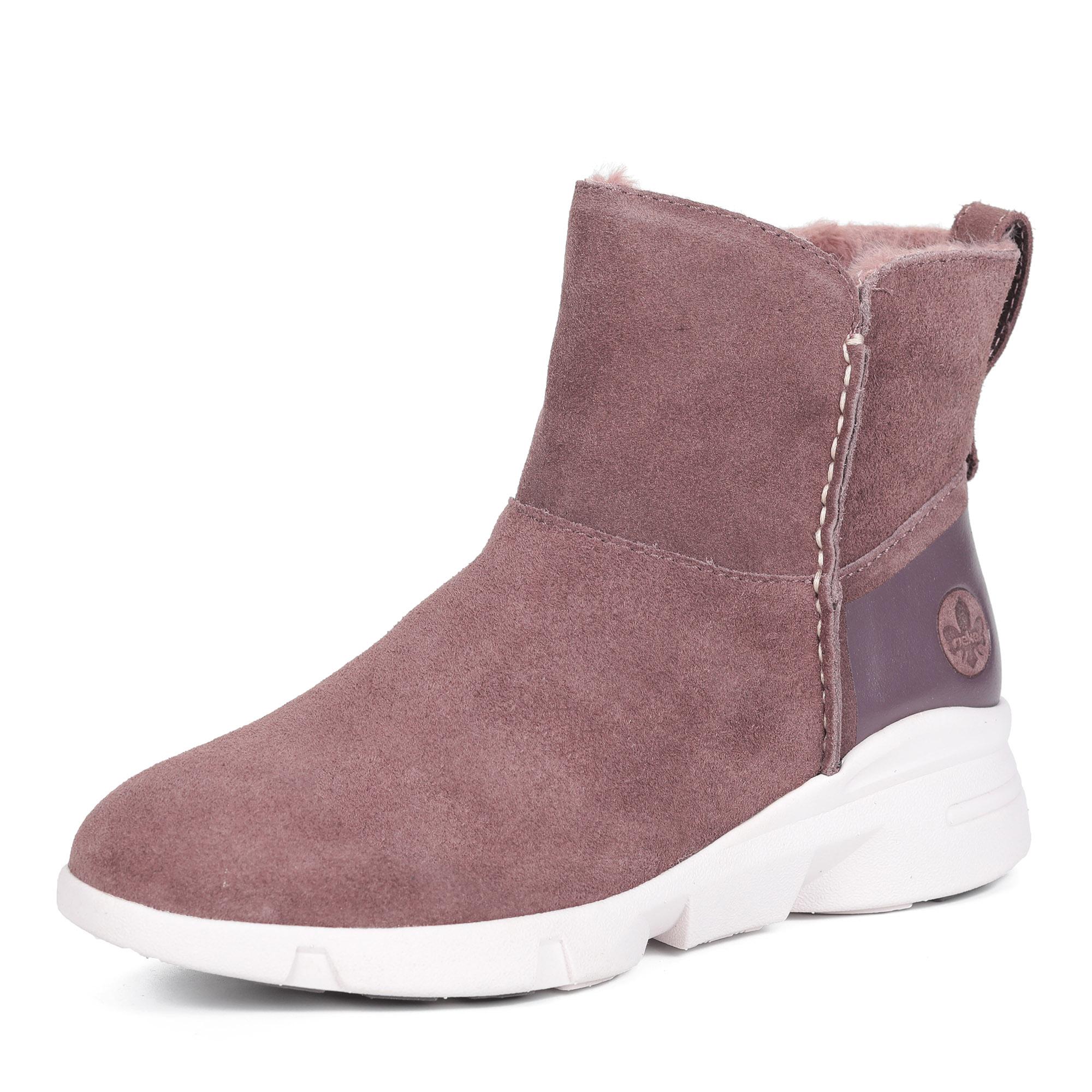 Бордовые ботинки из кожи на шерсти