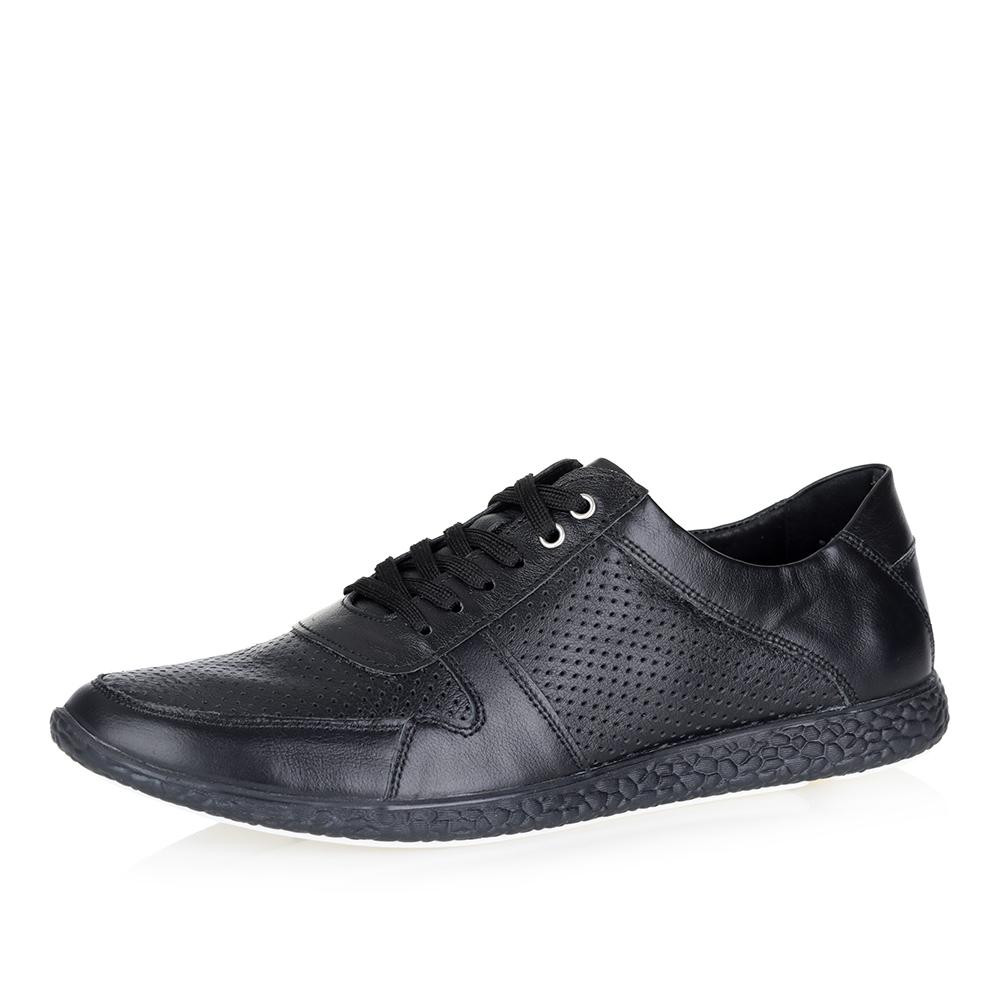 Черные кожаные кроссовки0