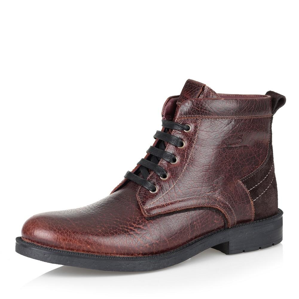 Купить со скидкой Коричневые кожаные ботинки на шерсти
