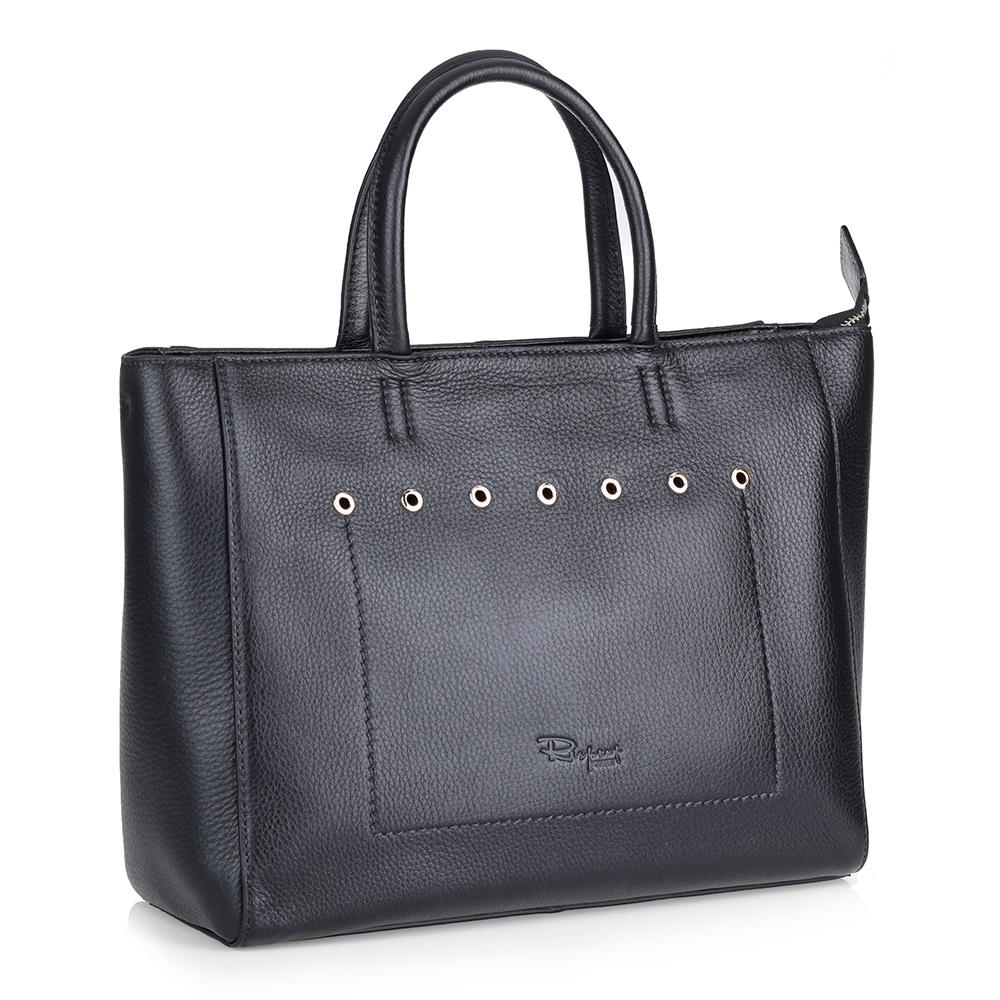 Черная кожаная сумка с клепками фото
