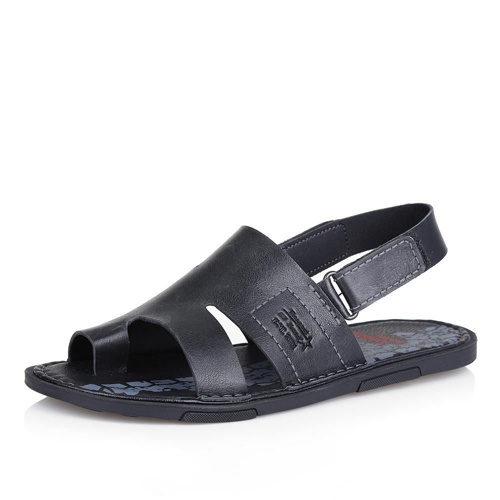 Черные сандалии из гладкой кожи фото