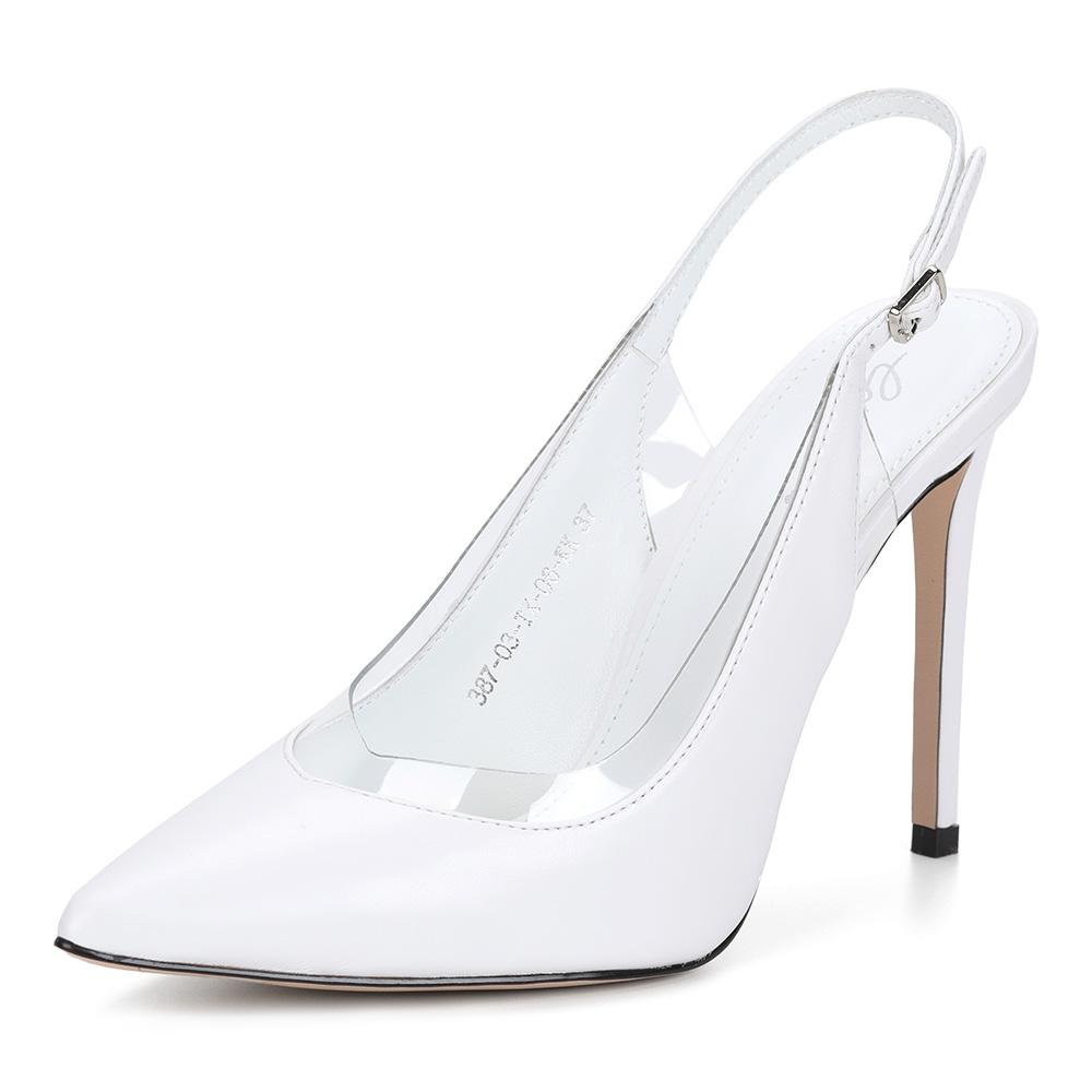 Белые комбинированные туфли с острым носком фото