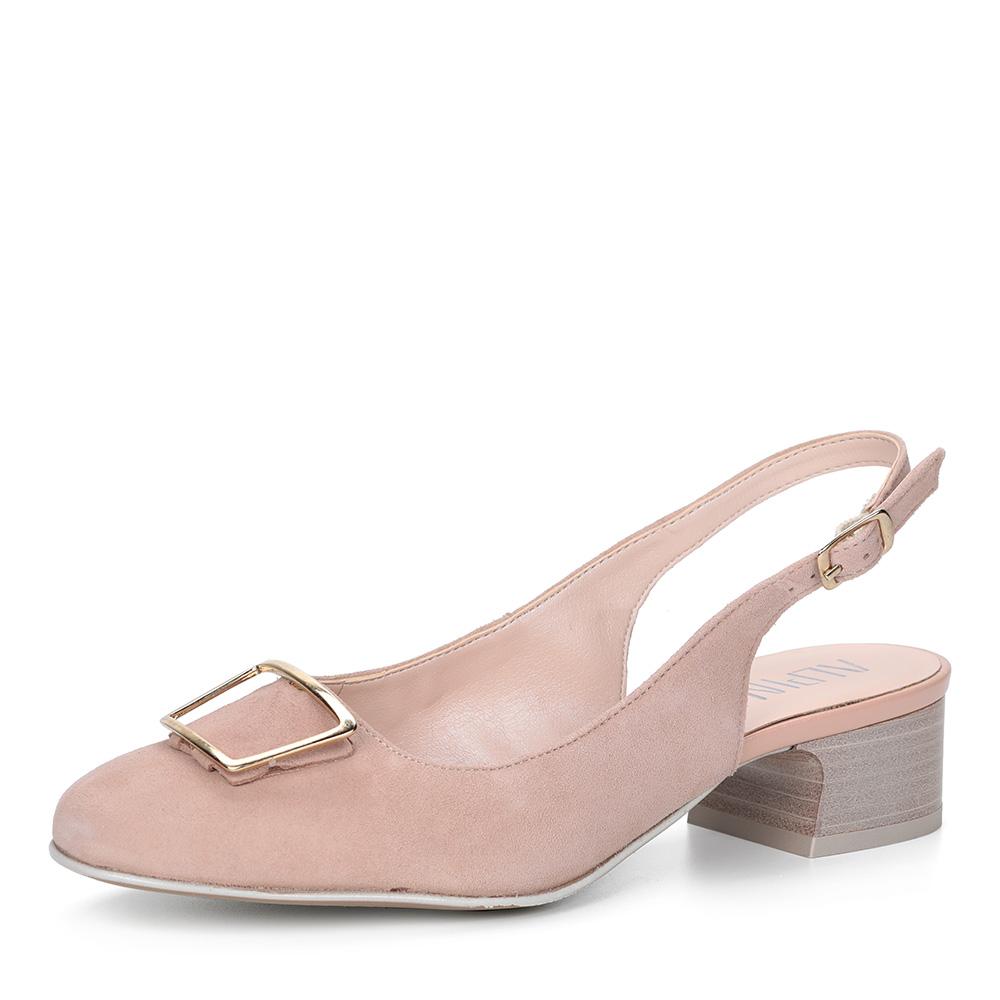 Розовые велюровые туфли с открытой пяткой фото