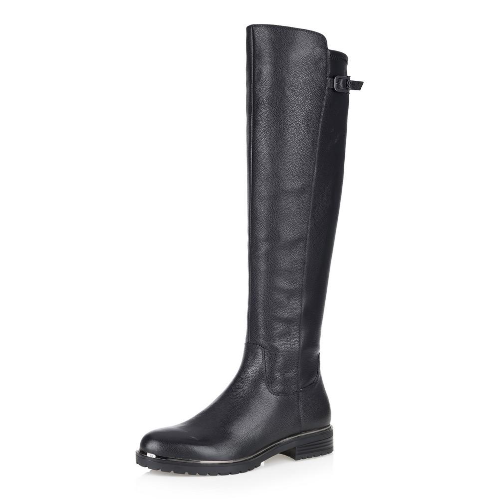 Купить со скидкой Черные ботфорты на низком каблуке