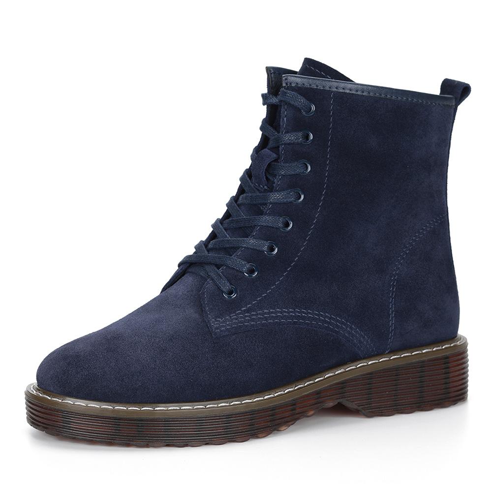 Синие ботинки из велюра