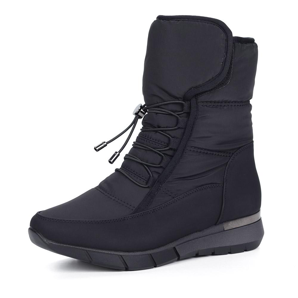 Черные дутики на шнуровке из текстиля