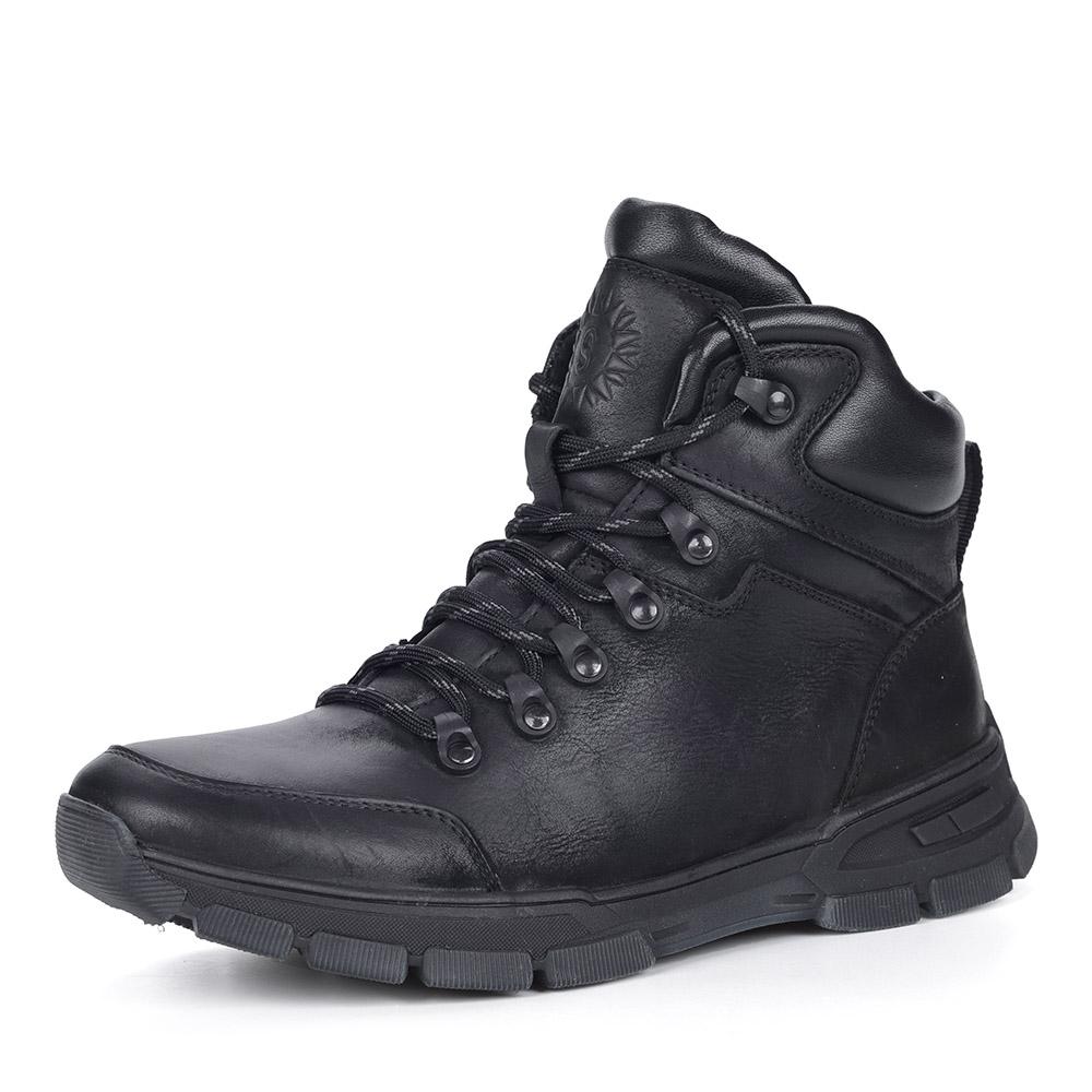 Черные ботинки на шерсти из нубука