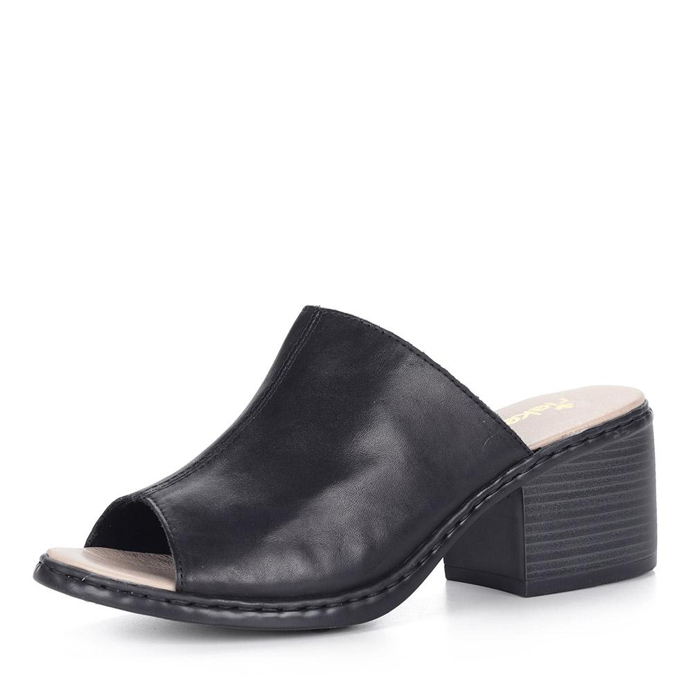 Черные сабо на каблуке из кожи