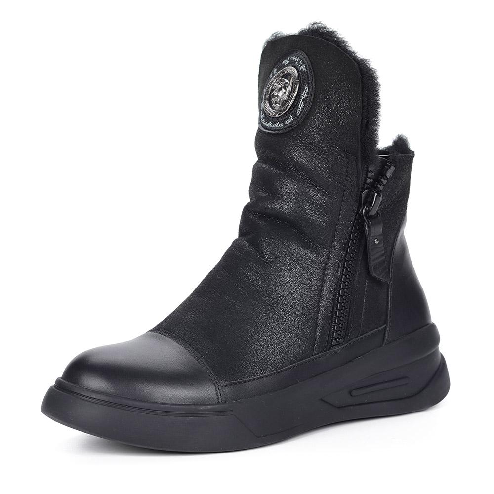Черные ботинки из кожи на меху