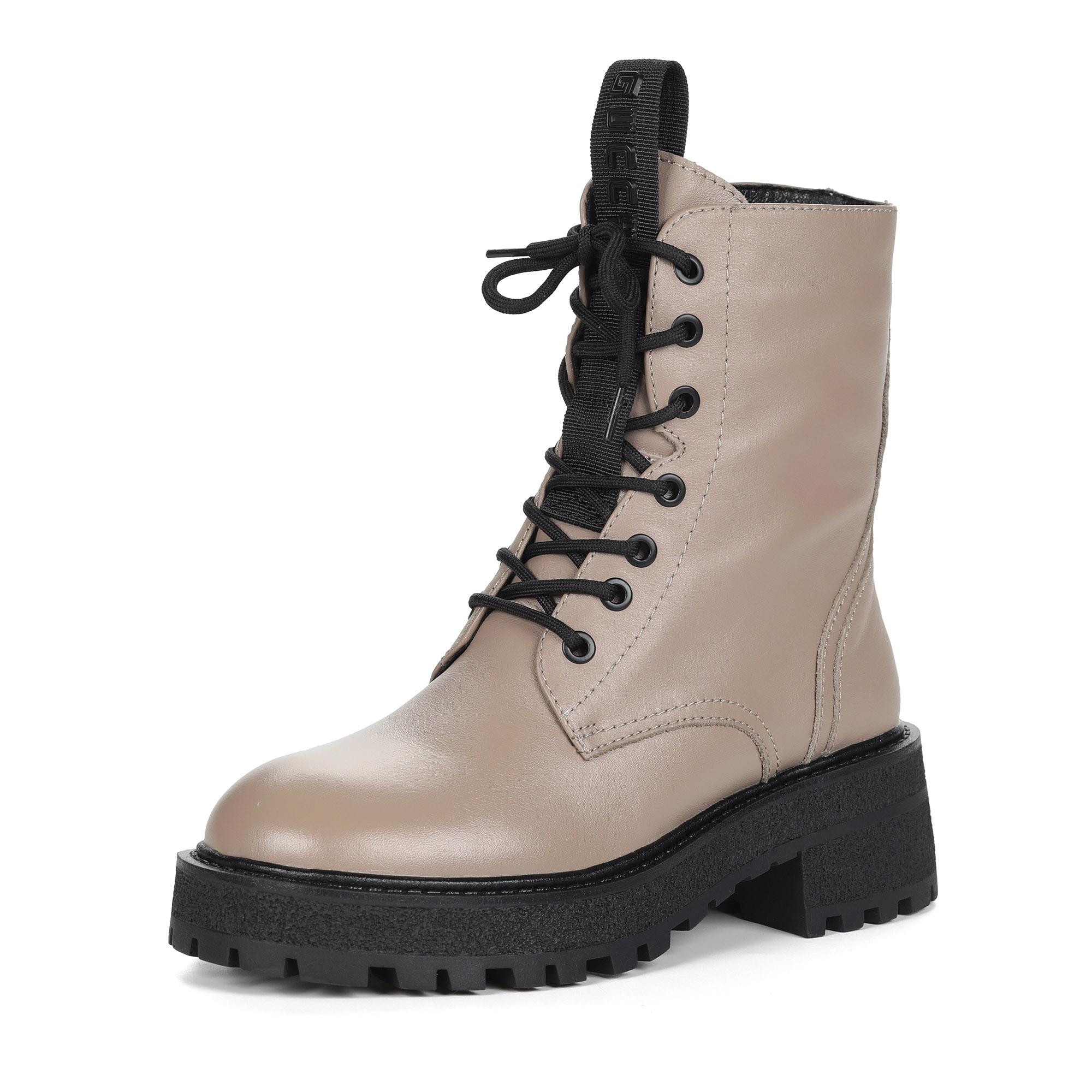 Бежевые ботинки из кожи на утолщенной подошве на подкладке из натуральной шерсти на шнуровке